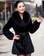 2016 New Women Winter Slim Mink Fur Coat Female Long Sleeve Removable Faux Fox Fur Collar Fur Jacket Thick Outerwear A126