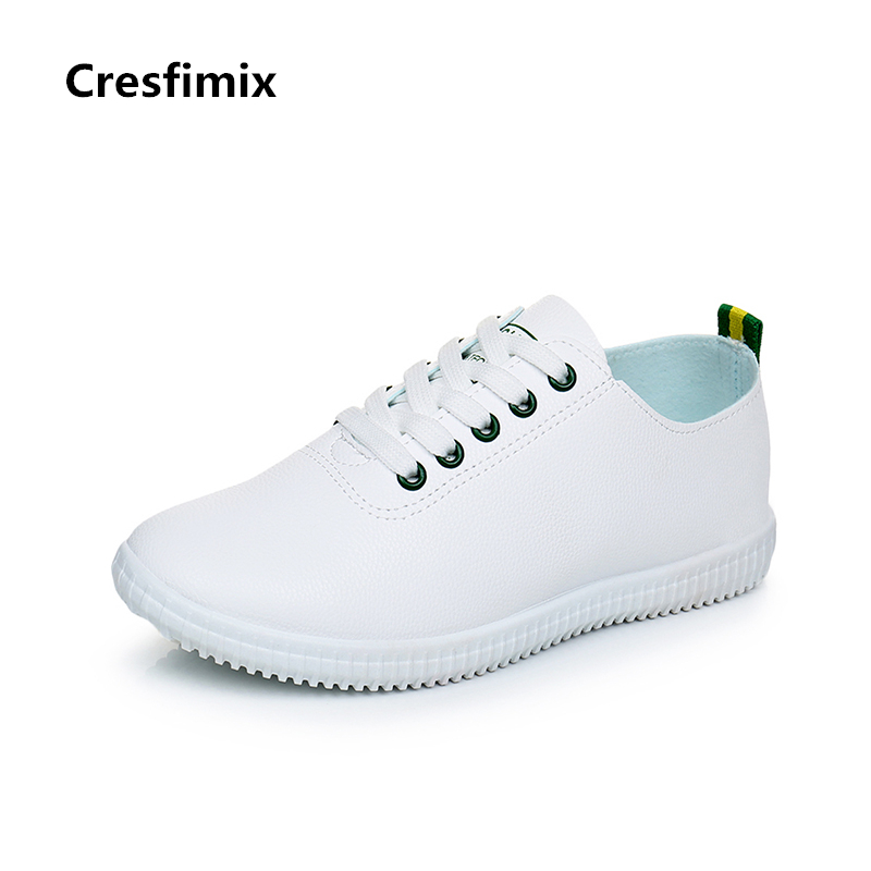 Cresfimix zapatos de mujer women cute soft & comfortable flat shoes lady casual lace up pu leather white shoes female cool shoes cresfimix zapatos de mujer women fashion pu leather slip on flat shoes female soft and comfortable black loafers lady shoes