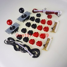 Arcade DIY Kits Parts New SANWA OBSF-30 , 2 x Reyann Push Buttons & SANWA Joysticks & USB PC Encoder For MAME Game – Red+Black