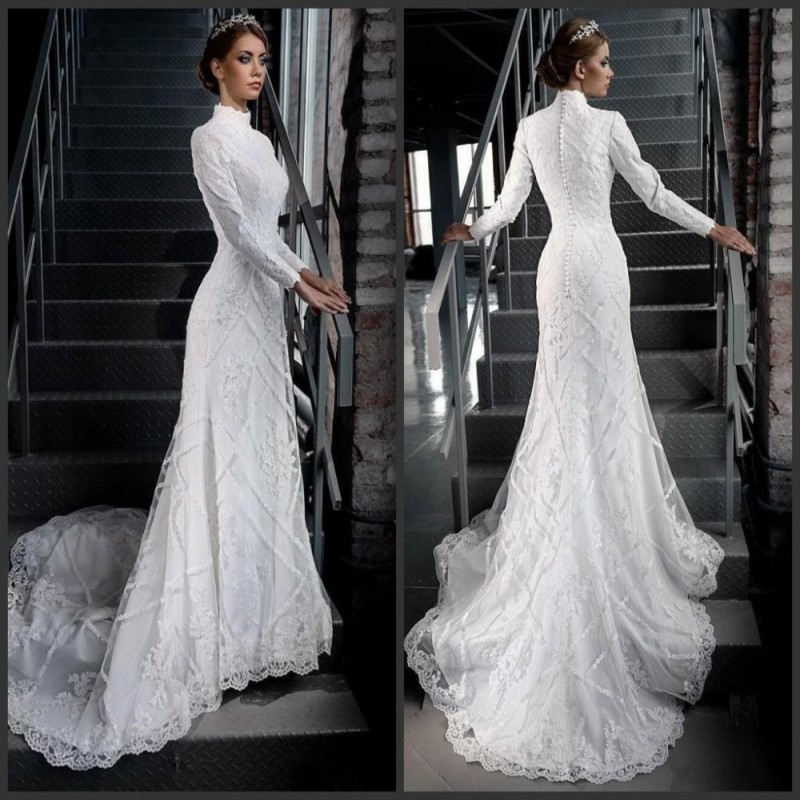 Vintage Muslim Wedding Dress 2016 Fashionable High Neck Lace Long ...