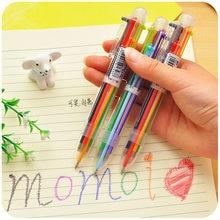 Caneta esferográfica multicolorida, caneta esferográfica multicolor 6 em 1, novidade, material de papelaria, material escolar criativo, 1 peça