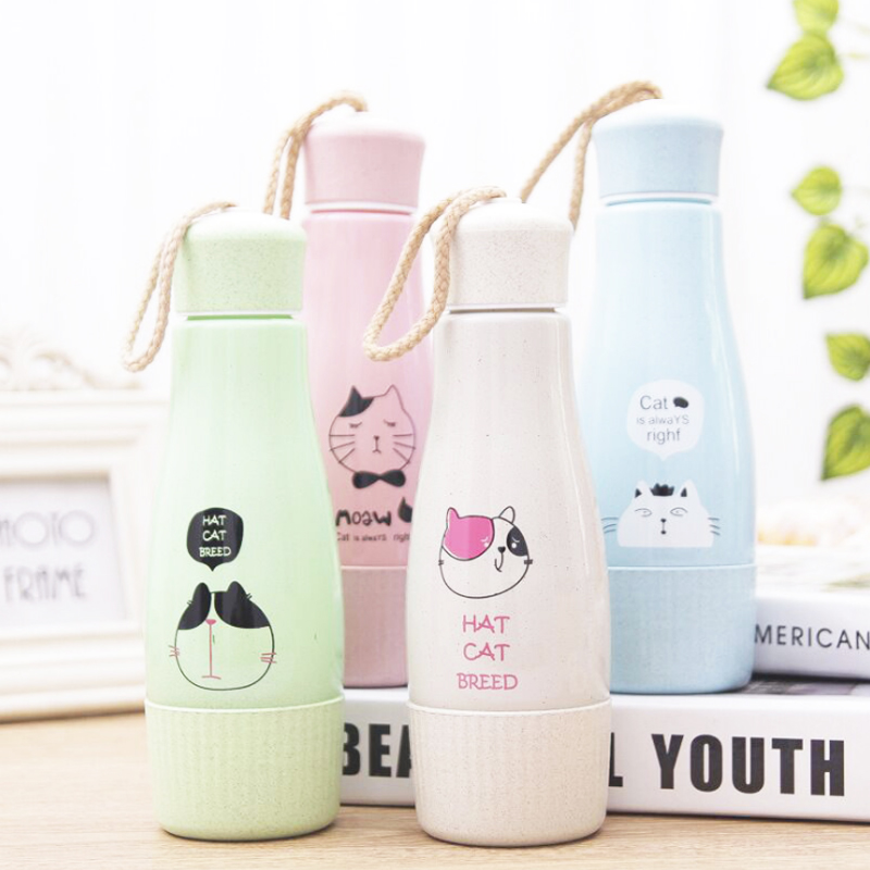 360ml Double Layer Glass Cup Milk Promotional Mugs Advertising Gift Cups Multicolor Travel Portable Christmas Gifts