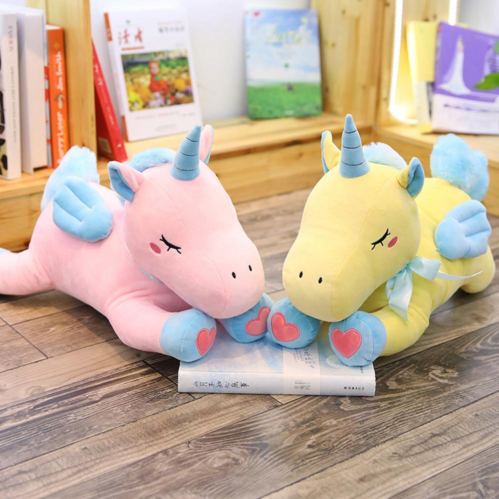 1 pc 50 cm mignon licorne en peluche jouets pour enfants en peluche animaux doux poupée dessin animé licorne Animal cheval cadeau de haute qualité pour les enfants