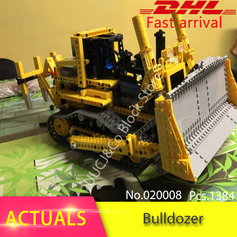 LEPIN 20008 1384pcs Technic series Motor The bulldozer Model Building Blocks Bricks Toys For Children Compatible 8275 Boys Gift lepin 20031 technic the jet racing aircraft 42066 building blocks model toys for children compatible with lego gift set kids