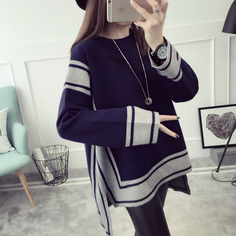 2017 autumn maternity pullover sweaters a line loose clothes for pregnant women knitted pregnancy dress tops