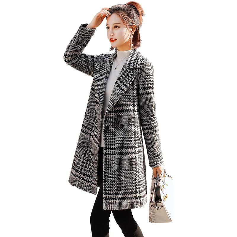 Et 2018 Automne Longues Plaid Survêtement Parka See Femme Casual Chart Manteaux Manteau Hiver Chaud Longs Femmes Taille Plus Manches Slim Mode Laine rppqE
