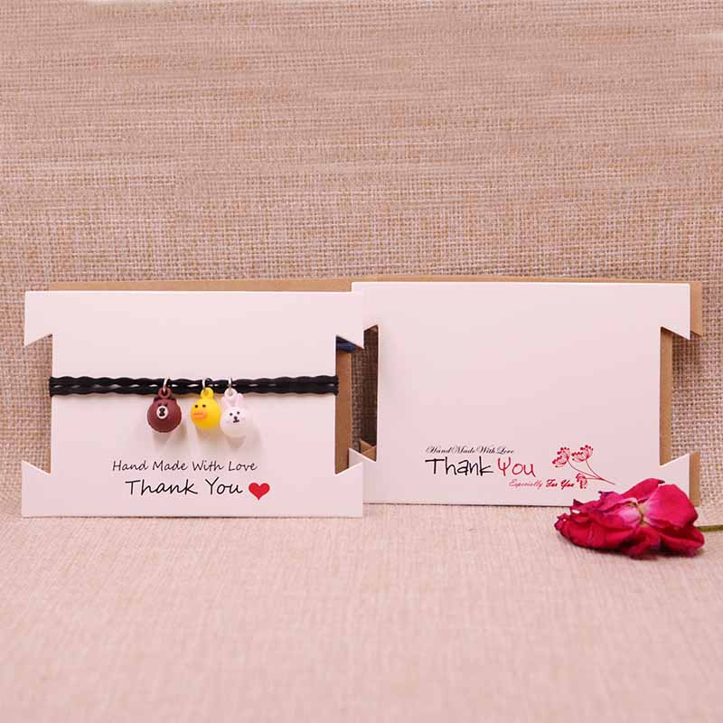 New Design 200pcs/lot White&Brown Thank You Hair Clip&band Card Jewelry Bracelet Display Cards 12x8cm 300gsm Paper Cardboard