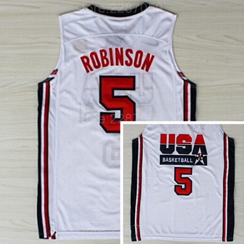 9189f8abbe14 Ediwallen Vintage 5 David Robinson Jersey Men Navy Blue White American 1992  USA Dream Team One