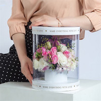 Korean Hand holding Box With PVC Round Transparent Rose Bouquet Flowers Gift Box Cuddle Bucket Box