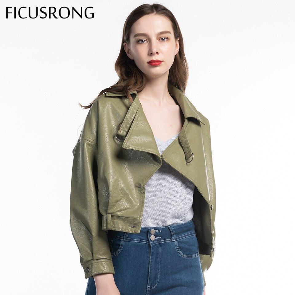 Hot Fashion Black Red Beige Green Women Autumn Faux Leather Jackets Basic Coat Turn-Down Collar Biker Jacket 2019 New FICUSRONG