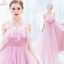 Elegant Pink Formal Party Prom Dresses 2019 Long vestidos de gala Spaghetti Straps Bead Evening Graduation Gowns Walk Beside You