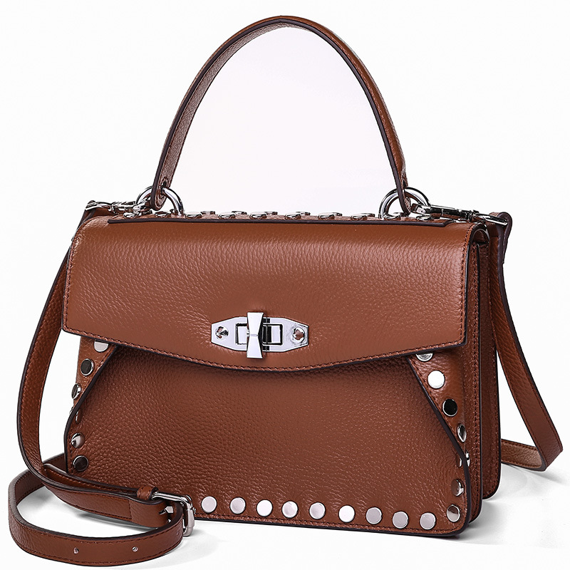 9250 New Fashion Europe and America Rivet Bag Cowhide Leather Handbag Portable Shoulder Bag Lady Crossbody Bag zooler lady handbag women cowhide leather handbags europe and america style genuine leather bags fashion menssenger shoulder bag