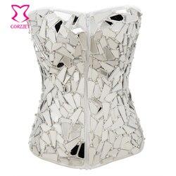 Белый атласный зеркальный Алмазный стимпанк корсет сексуальный Espartilhos E Corpetes бурлескная Клубная одежда корсеты и бюстье готическая одежда