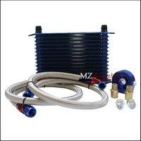 Универсальный 15 строк синий масляный радиатор комплект + Масляный фильтр Сэндвич + нейлоновый Плетеный Масляный шланг из нержавеющей стали