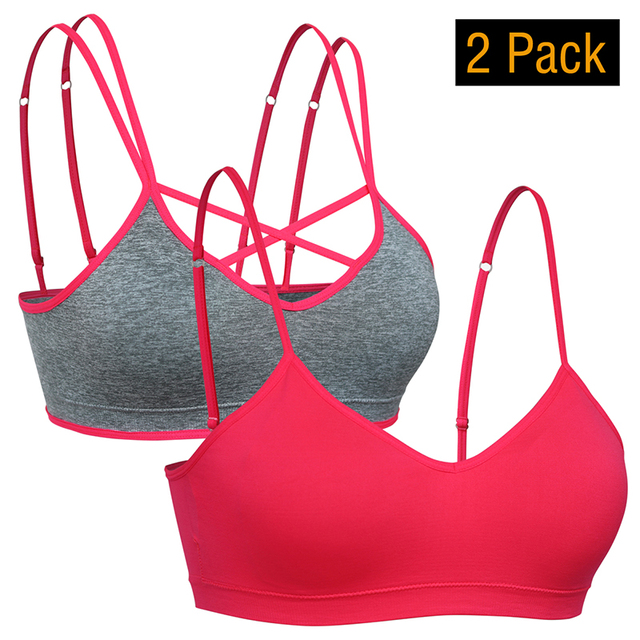 3be4fca4366 Women s Criss Cross Middle Support Bra Plus Size Removable Padded Workout  Bras 1 2 Pack