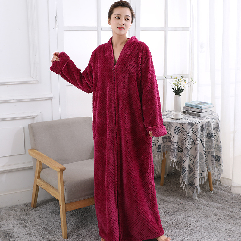 Hot Ladies Soft Feel Cozy zip up Long dressing gown Bath robe ...
