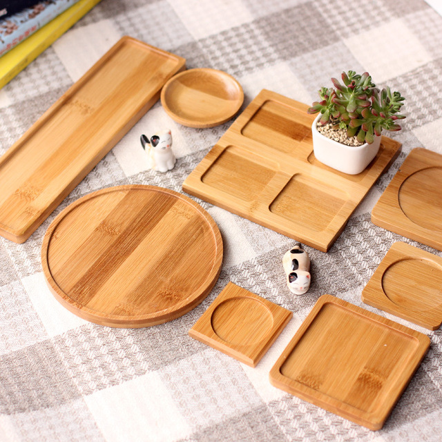 Bamboo Round Square Bowls Plates for Succulents Pots Trays Base Garden Decor Home Decoration Crafts & Bamboo Round Square Bowls Plates for Succulents Pots Trays Base ...