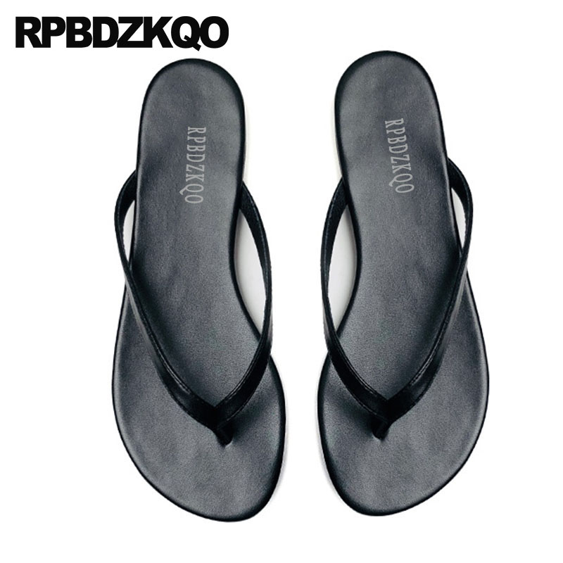 96259c7e4281 slippers shoes leather summer fashion slides plain sandals designer flip  flops women flat beach black 5 chinese open toe 2018