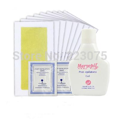 Hot yellow Pro 20 unids lateral doble de cera fría franja de depilación papel depilatorio y limpie y 100 ml poste de depilación