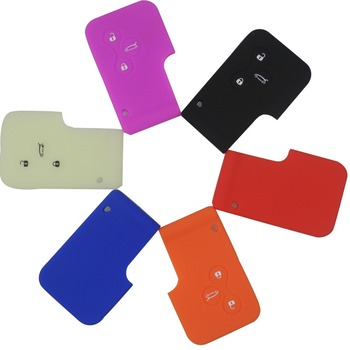 jingyuqin 3Buttons Silicone Key Card Case For Renault Clio Megane R.S. Scenic Grand Remote Key Cover Luminious Optional Holder image