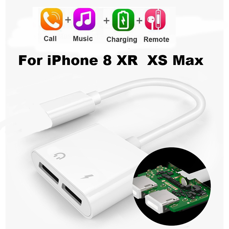 Double Jack Charging Audio Adapter For IPhone 8 Plus X XR XS MAX  Eearphone Audio Charger Splitter Adapter Converter 1000pcs/lot
