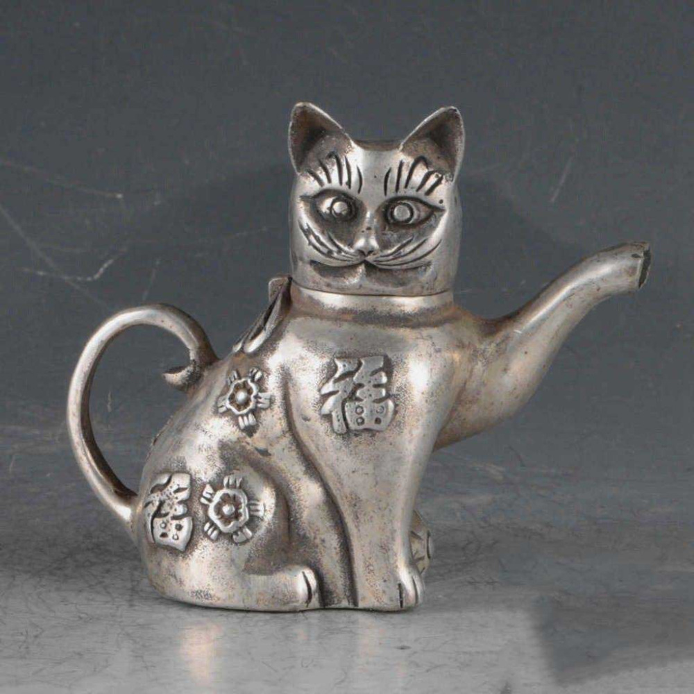 Details about Asian Superb Collectible Old Handmade Casting Silver Cat Statues Teapot