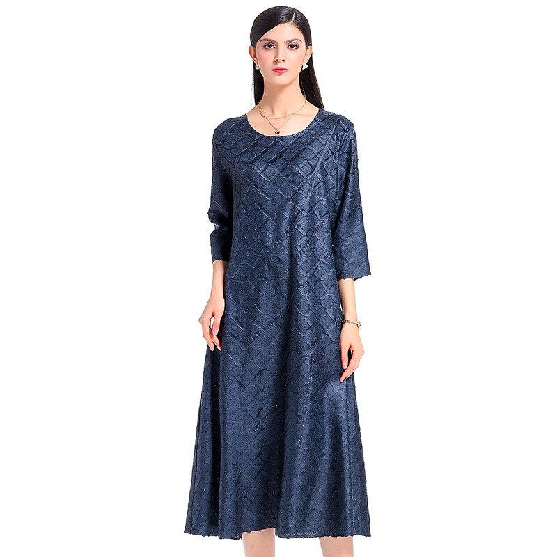 Treillis Bleu Produits Dames Robe Plissée marine Nouveaux Perles gris 2018 Et bourgogne Mode Européen Américain Élégant De Noir aAwEx
