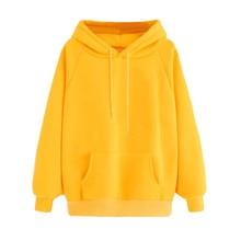 38c8fb350280 Mujeres amarillo sudaderas con capucha con bolsillo chándales sudaderas de manga  larga Sudadera Plus tamaño jerseys con capucha .