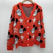 Шерстяная Смесь мягкий удобный кардиган с рисунком мыши Женская куртка свитер осень зима
