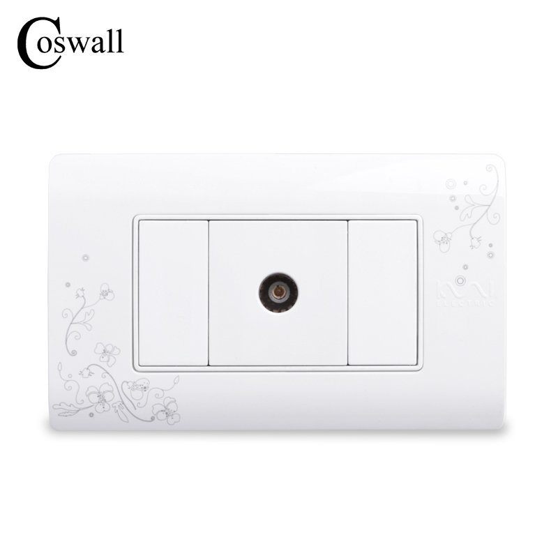 COSWALL Simple Style Single TV Socket, Wall Outlet, Ivory White,114mm*70mm, AC 110~250V