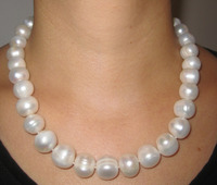 FREE SHIPPING HOT sell new Style >>>>>Rare Large 12mm 15mm Natural White Freshwater Pearl Necklace Choker