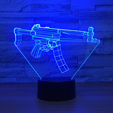 Creative Visual Usb 7 Color Change Night Lights Acrylic 3D Machine Gun Modelling Table Lamp Led Kids Bedroom Bedside Sleep Gifts creative 7 color horse head lamp 3d visual led night lights for kids touch usb table lampe baby sleeping night light