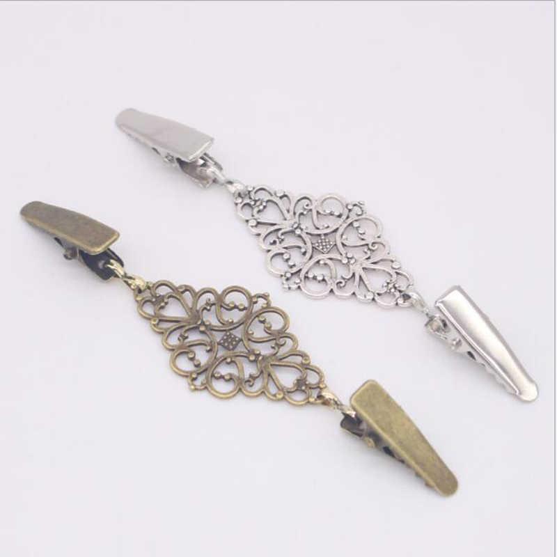 Altın gümüş renk ördek klipleri esnek boncuklu İnci Pin broş şal gömlek kazak hırka yaka klip tokaları giyim