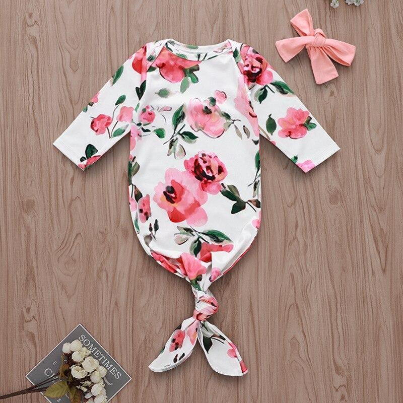 Effizient Neue Ankunft Neugeborenen Baby Rosa Floral Schlafsack Langarm Schlaf Tragen Swaddle + Stirnband 2 Stücke Baby Schlafsack 0 -6 M
