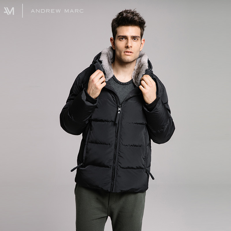 ANDREWMARC 2017 New Arrival Man Down Coat Rabbit Fur Collar Hooded Winter Thick Male Leisure Coats TM7AE280