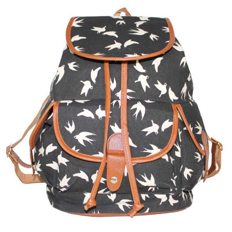 Fashion Women Swallow Owl Fox Geometric Print Canvas Backpack Student Girl School Bags Casual Travel Bags High Quality Rucksack
