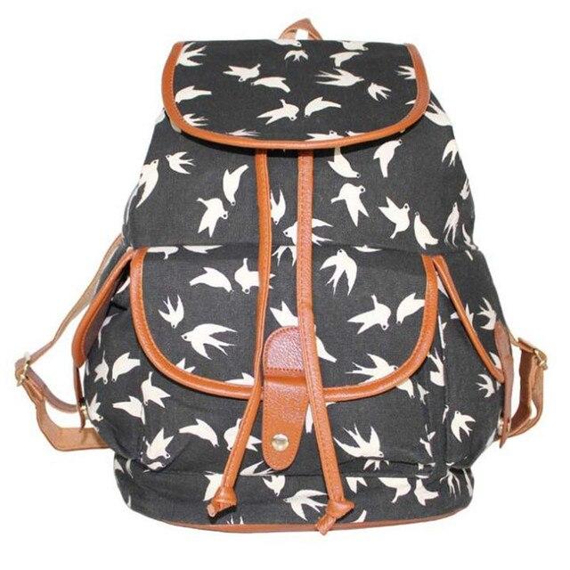 Fashion Women Swallow Owl Fox Geometric Print Canvas Backpack Student Girl  School Bags Casual Travel Bags 5f9c5eae6af4b