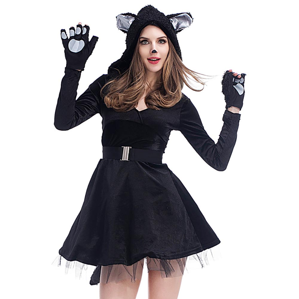 Sexy Women Black Cat Costume Girls Kitty Cat Tutu Dress -9561