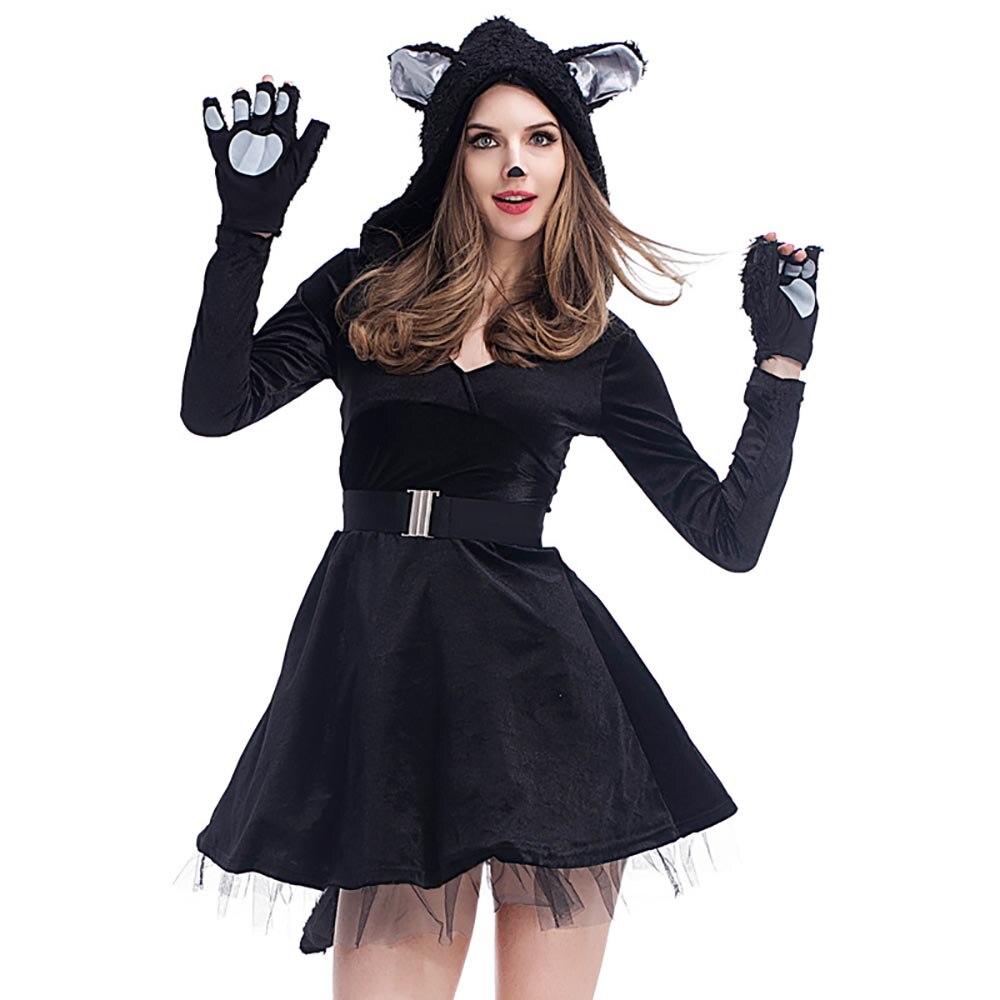 Black dress gloves - Sexy Women Black Cat Costume Girls Kitty Cat Tutu Dress With Cat Paws Fingerless Gloves Adult