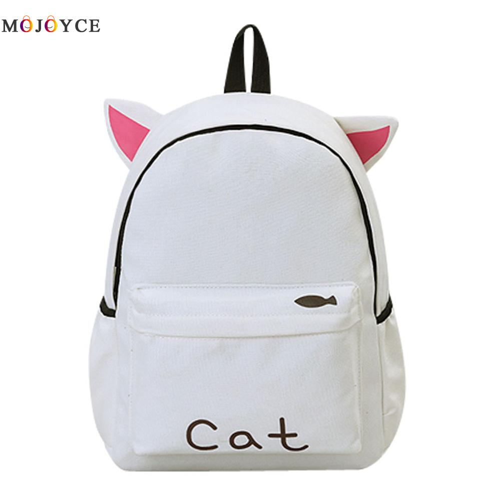 13.6L Cat Bear Rabbit Desingn Canvas Backpack Teenage Girls School Backpack Mochila Feminina