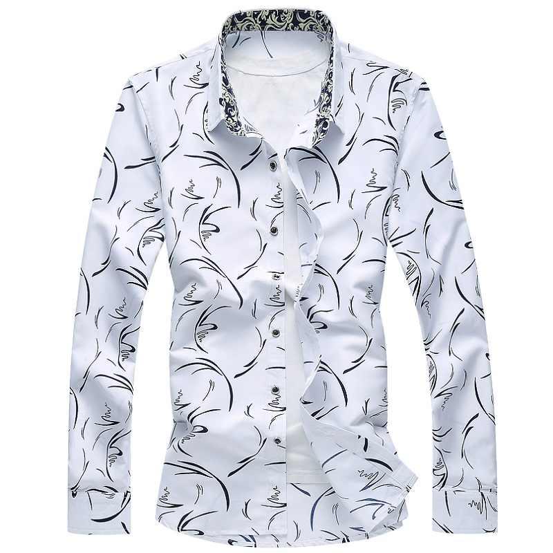 Cigna Herren Langarm Shirts Mode Lässig Blumen Hemd Männer Farben Sky Blau Weiß Navy Blau Große Größe 7XL Mann tops