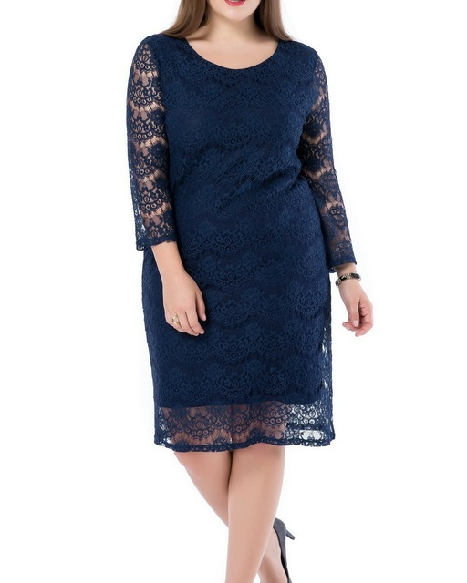 f20df6da68 Chicwe Women s Lined Plus Size Lace Dress with 3 4 Sleeves Large Size Big  Size