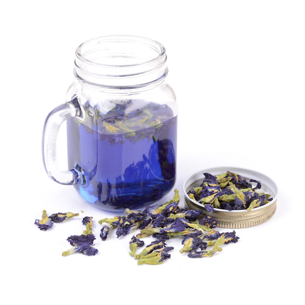 100g Blue Butterfly Pea Tea. Clitoria Ternatea Tea. Dried Clitoria Kordofan Pea Flower A Mixed In Coffee Put In Tea Infuser