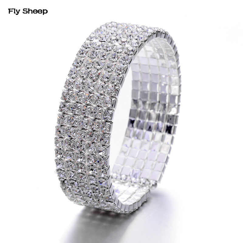 Fashion Elastic Crystal Bracelets for Women Versatile Simulated Shiny Diamonds Bling Bling Wide Bangles Bracelet Bridal Jewelry