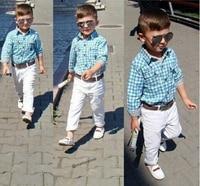 ST154 2015 New Fashion Boys Clothes Set Kids Loose Fitting Cotton Plaid Shirt Pants Belt 3