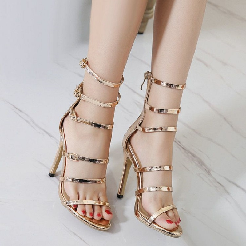 Women Sandals Plus Size 33-43 Fashion Zip High Heel Summer Women Pump Shoes Woman Office Women Shoes zapatos mujer fedonas women sandals plus size 34 43 fashion ankle strap high heel summer women pump shoes woman cute colors elegant sandals