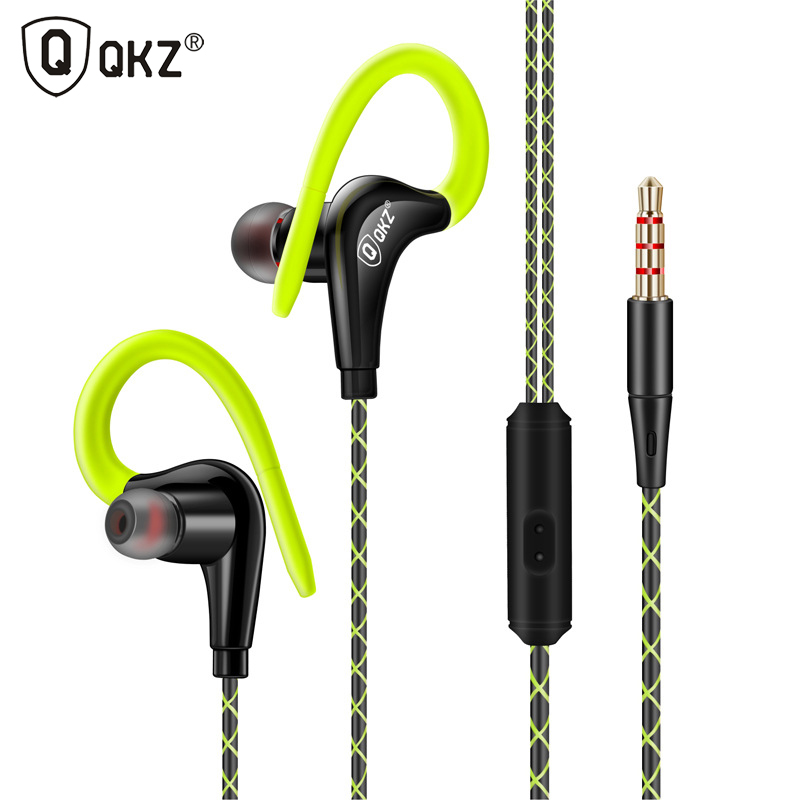 QKZ DM500 Best Cheap 10mm Driver Earhook In Ear Sport Headphones Stereo Earbuds Bass Sport Earphone with Mic Kulaklik Ecouteur image