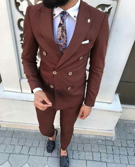 2017 Latest Coat Pant Designs Brown Men Suit Slim Fit 2 Pieces Groom Tuxedo Custom Double Breasted Suits Prom Blazer Masculino