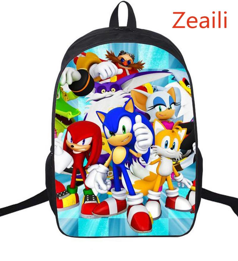 16 hüvelykes Cartoon hátizsákok gyerekeknek Fiú lányok Super Mario Sonic Boom könyvtáska hátizsák elsődleges diákok iskolatáska Mochila