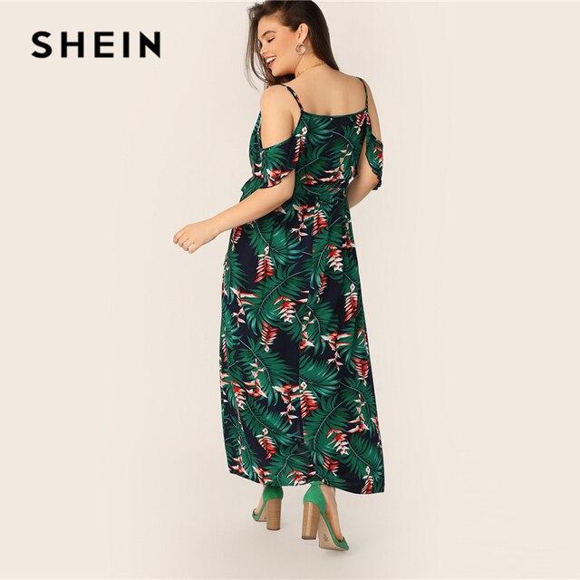 SHEIN Plus Size Multicolor Cold Shoulder Tropical Print Belted Split Maxi Dress 2019 Women Summer Boho Spaghetti A Line Dresses 2